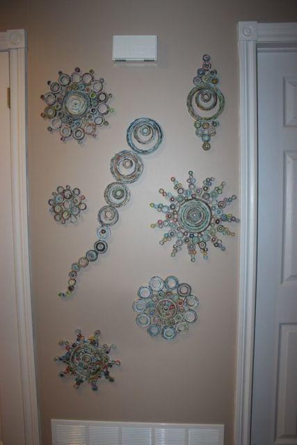 parede decorada reciclagem