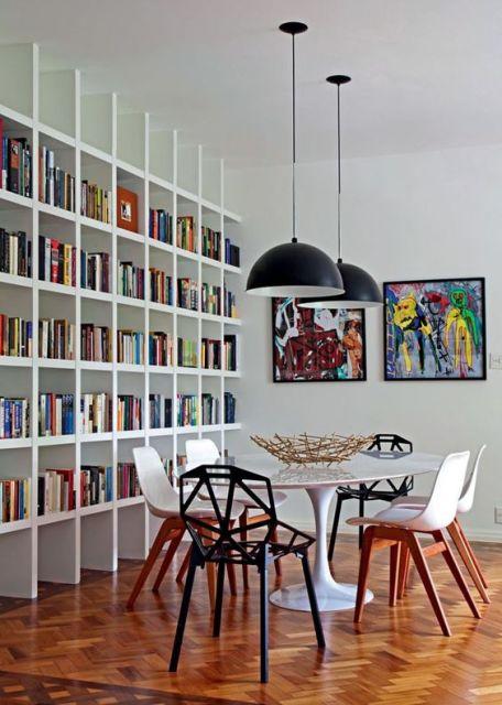 Estantes para livros 74 modelos e como fazer for Distancia entre estantes biblioteca