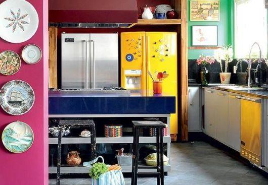 geladeira colorida americana