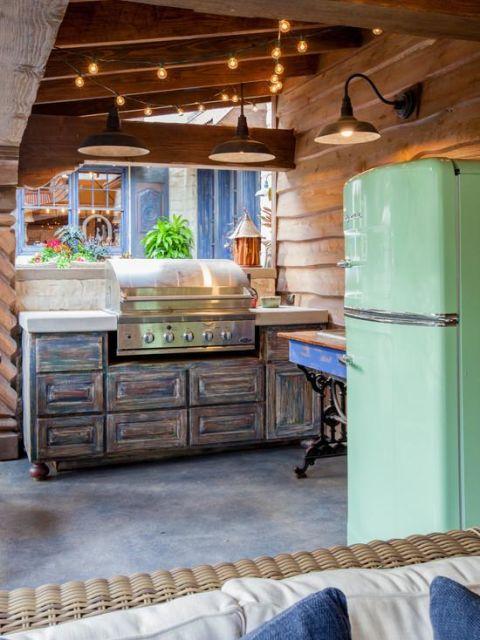 geladeira colorida cozinha rústica