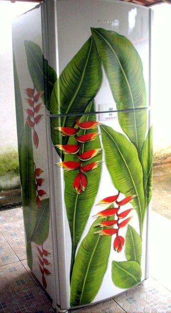 geladeira colorida pintada flor