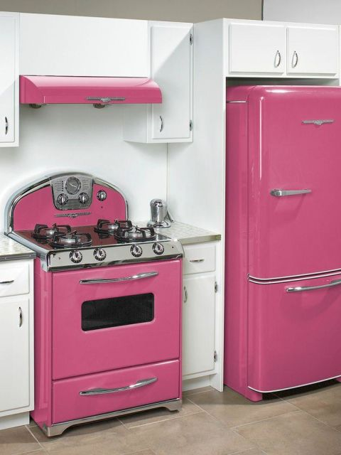 geladeira colorida rosa combinando