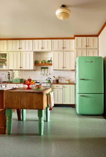 geladeira colorida verde água