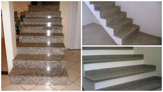 escadas de granito cinza