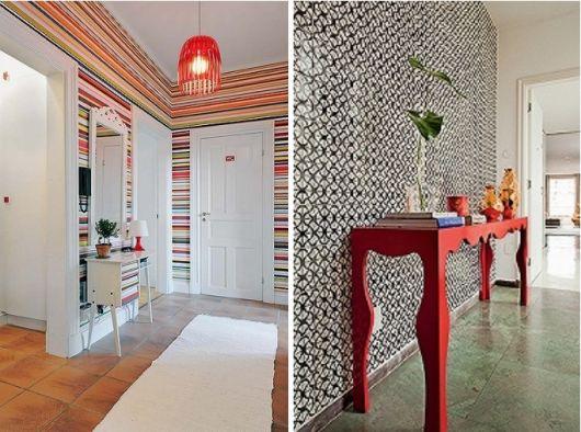 hall de entrada pequeno decorado com papel colorido
