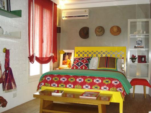 móveis coloridos cama