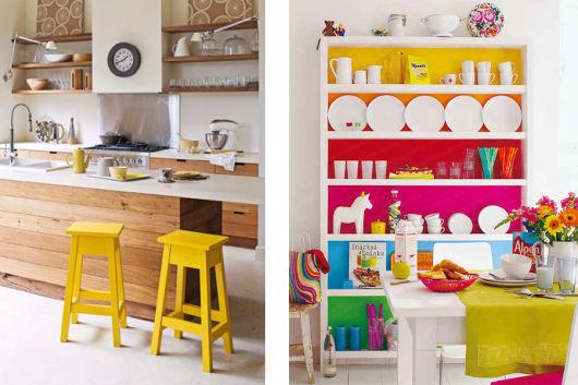 móveis coloridos cozinha
