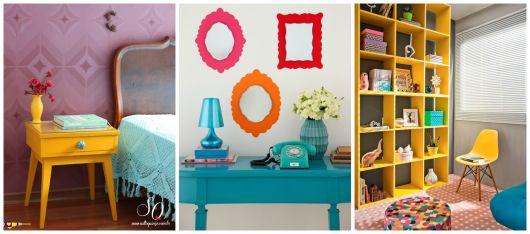 móveis coloridos quarto