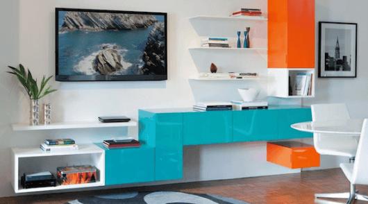 móveis coloridos sala moderna