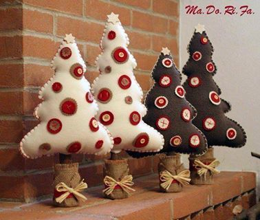 mesa de natal árvores de feltro