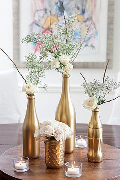 mesa de natal centro de mesa com garrafas