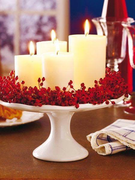 mesa de natal centro de mesa com velas