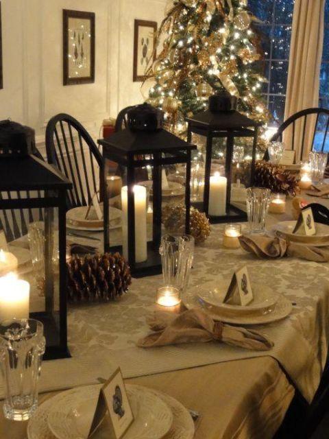 mesa de natal com velas