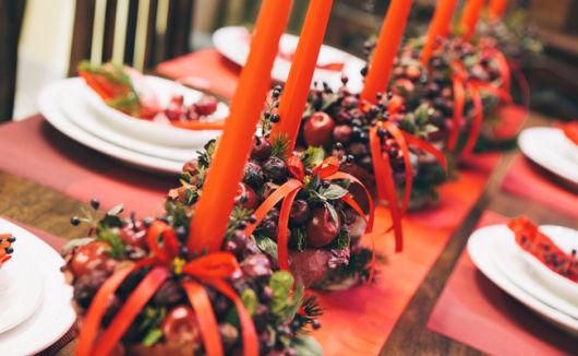 mesa de natal decorada arranjo de frutas