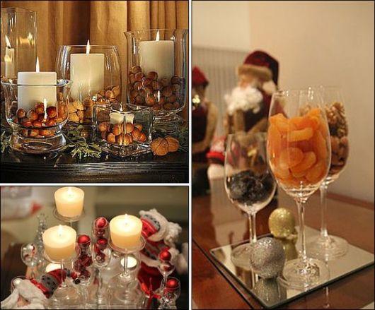 mesa de natal decorada com frutas e castanhas