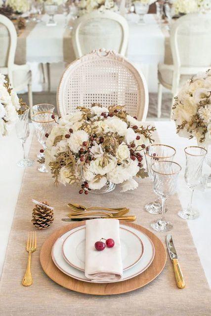 mesa de natal flores brancas