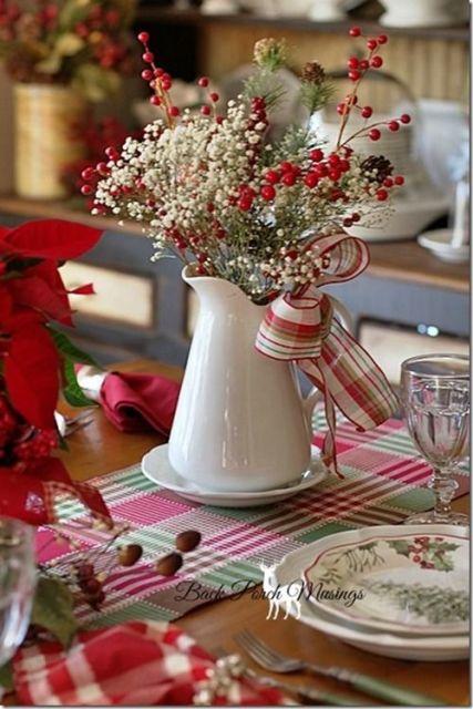 mesa de natal flores no centro