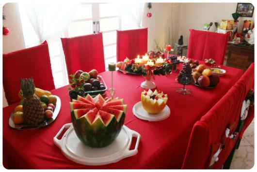 mesa de natal frutas