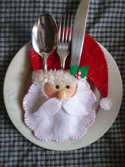 mesa de natal porta talheres feltro