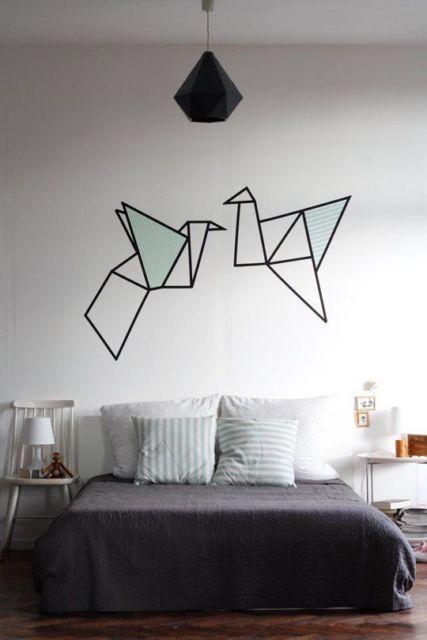 parede decorada fita