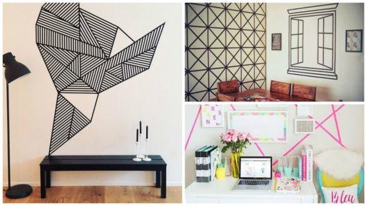Pintura de parede como pintar passo a passo + ideias lindas! -> Decorar Parede Com Fita Adesiva