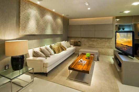 sala moderna com parede de textura