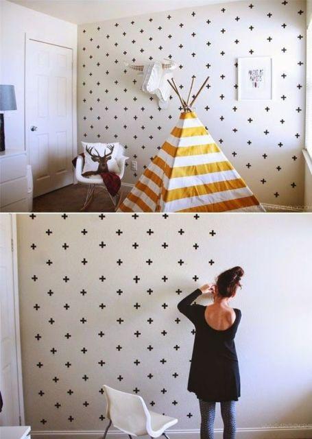 parede decorada fita isolante
