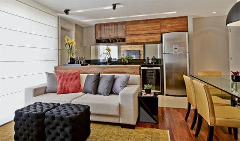 piso sala e cozinha integradas