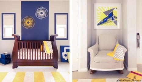 quarto de bebê azul e amarelo