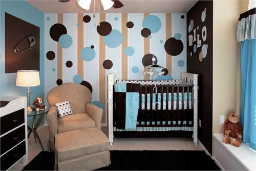 quarto de bebê azul e marrom lindo