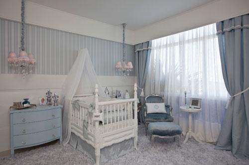 quarto de bebê azul estilo provençal