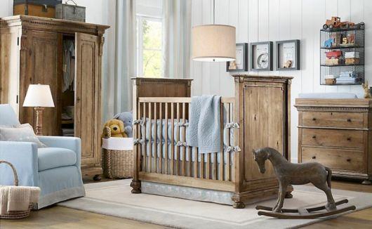 quarto de bebê azul madeira