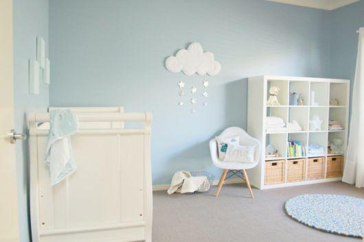 quarto de bebê azul nuvens clarinho