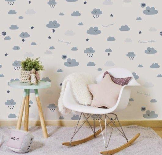quarto de bebê azul nuvens papel de parede