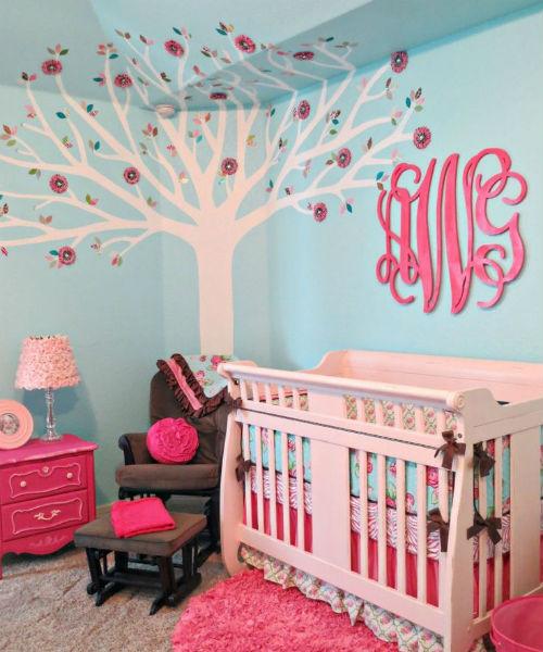 quarto de bebê azul turquesa feminino
