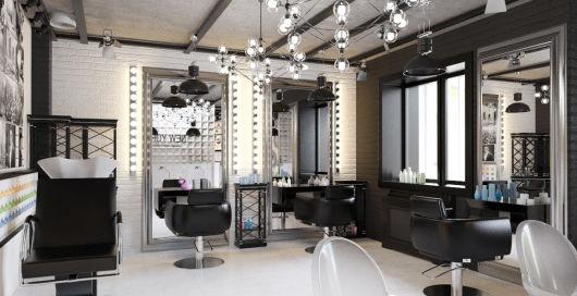 salão de beleza pequeno decorado cor preta