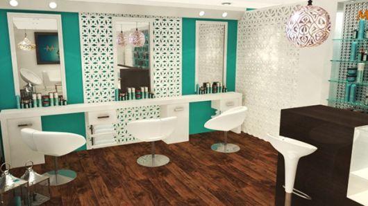 salão de beleza pequeno decorado parede
