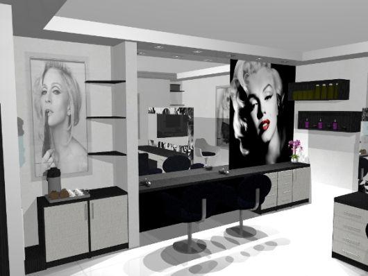 salão de beleza pequeno decorado preto