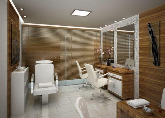 salão de beleza pequeno decorado revestido
