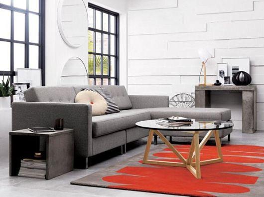 salas com sofá cinza clean