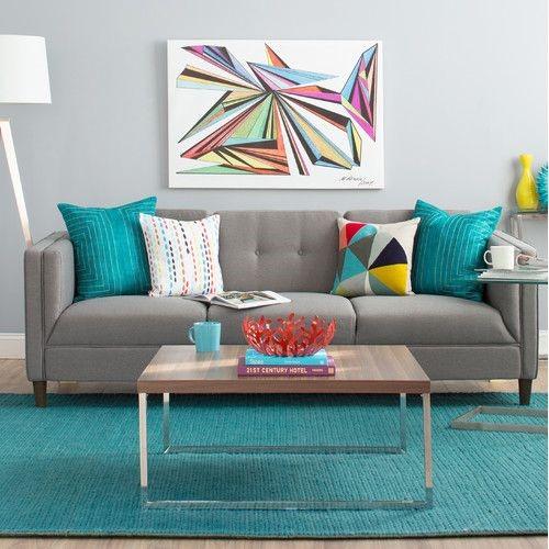 salas com sofá cinza colorida