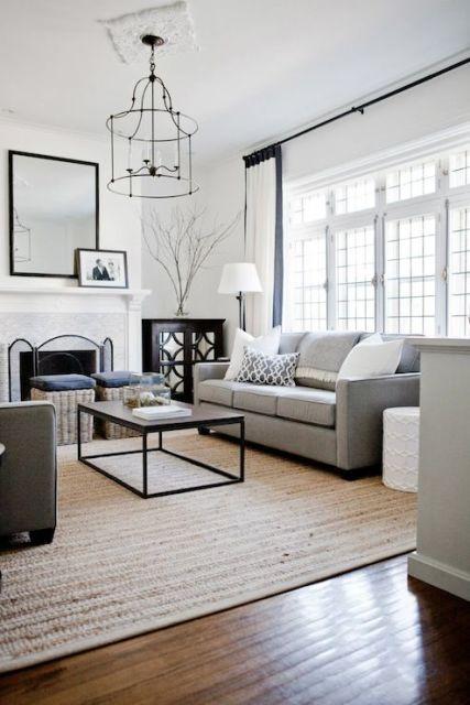 salas com sofá cinza luxo