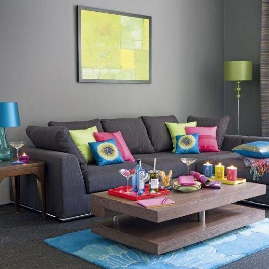 Sala De Tv Com Sofa Roxo ~ Salas com Sofá Cinza + de 30 ideias incríveis e inspiradoras!