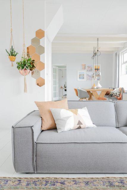 salas com sofá cinza onjetos