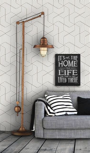 salas com sofá cinza parede desenhada