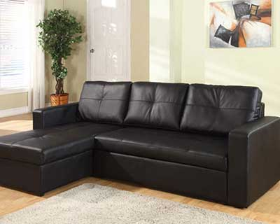 salas com sofá preto bege clean