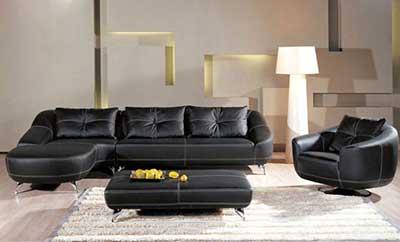 salas com sofá preto couro ideias