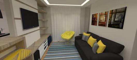 salas com sofá preto decoração bege neutra