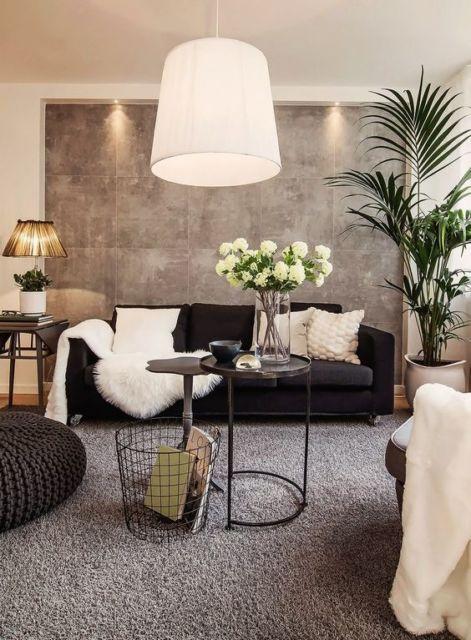 salas com sofá preto decoração clean bege