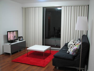 salas com sofá preto decoração tapete vermelho